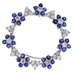 Oscar Heyman Platinum Sapphire and Diamond Round Circle Brooch