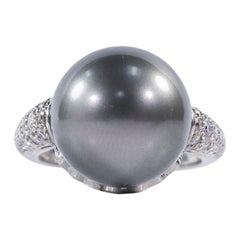 Oscar Heyman Platinum Tahitian Pearl and Diamond Ring