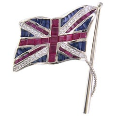 Oscar Heyman Platinum Union Jack Ruby, Sapphire, and Diamond Flag Brooch