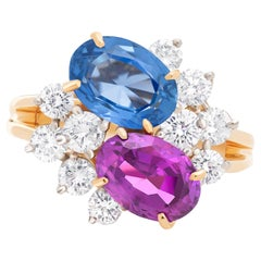 Oscar Heyman Purple + Blue Sri Lanka Sapphire and Diamond Twin Ring in 18K/Plat