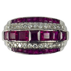 Oscar Heyman Red Ruby White Diamond Platinum Ring
