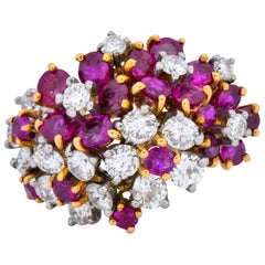 Oscar Heyman Retro 5.15 Carat Diamond Ruby 18 Karat Gold Cluster Flower Ring