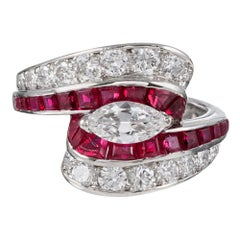 Oscar Heyman Retro Style Ruby and Diamond Ring