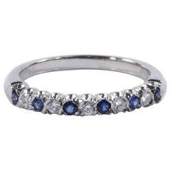 Oscar Heyman Round Sapphire and Diamond Partway Wedding Band
