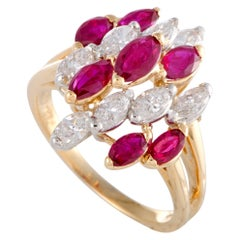 Oscar Heyman Ruby and Diamond 18 Karat White Gold Cluster Ring
