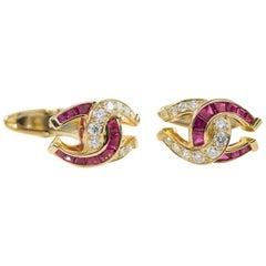Oscar Heyman Ruby and Diamond Horseshoe Cufflinks