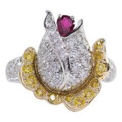 Oscar Heyman Ruby and Diamond Rosebud Ring