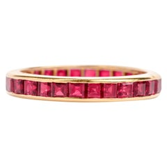 Oscar Heyman Ruby Channel Set 18 Karat Eternity Band Ring