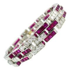 Oscar Heyman Ruby Diamond Platinum Line Bracelet, 1960s