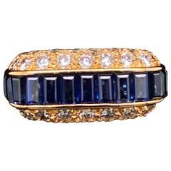 Oscar Heyman Sapphire and Diamond 18 Karat Yellow Gold Cocktail Ring