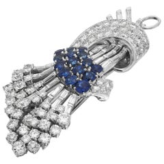 Oscar Heyman Sapphire and Diamond Bouquet Brooch/Pendant, Vintage 1950s