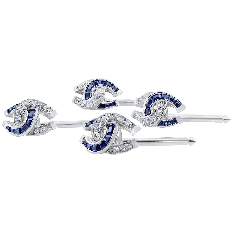 Oscar Heyman Sapphire and Diamond Horseshoe Shirt Studs '4'