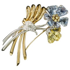 Oscar Heyman Sapphire Diamond Flower Brooch, circa 1940s