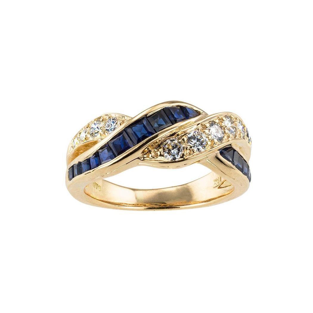 Oscar Heyman Sapphire Diamond Yellow Gold Ring Band
