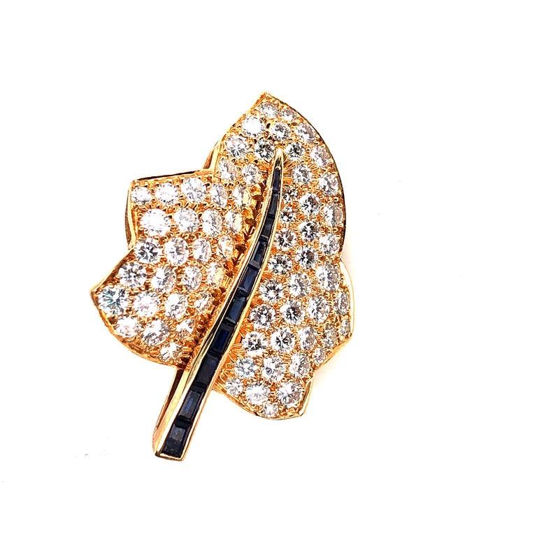 Oscar Heyman Small Gold Pave Diamond Maple Leaf Brooch For Sale 2