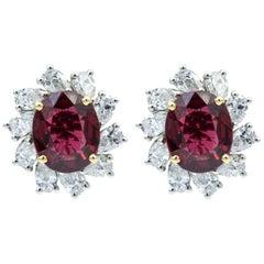 Oscar Heyman Unheated Burmese Red Spinel and Diamond Earrings