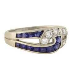 Oscar Heyman Vintage Diamond and Sapphire Interlocking Link Ring
