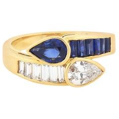 Oscar Heyman Vintage Diamond Sapphire Bypass Ring