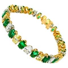 Oscar Heyman Vintage Yellow Gold Platinum Diamond Emerald Bracelet