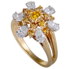 Oscar Heyman White and Yellow Diamond Yellow and White Gold Flower Ring