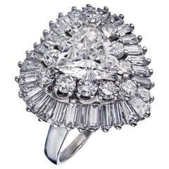 Oscar Heyman White Diamond Ballerina 1.82 Carat Trilliant Cut Engagement Ring