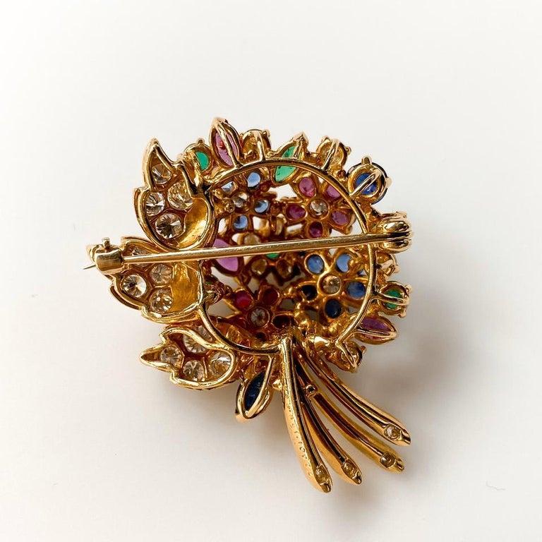 Modern Oscar Heyman Yellow Gold Diamond Gemstone Flower Brooch For Sale