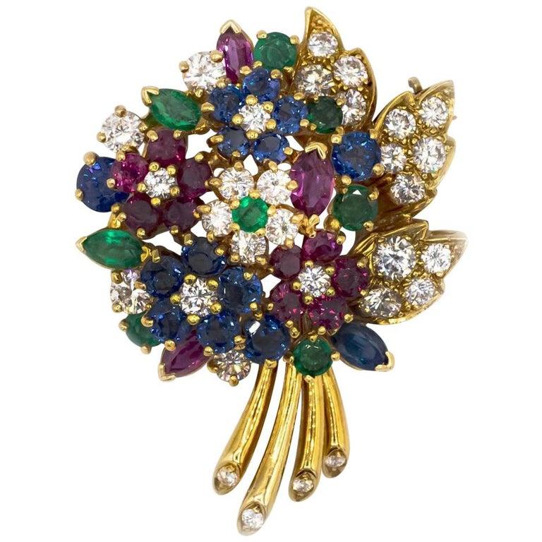 Oscar Heyman Yellow Gold Diamond Gemstone Flower Brooch For Sale