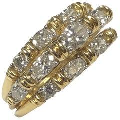 Oscar Heyman Yellow Gold Platinum and Diamond Tiered Ring