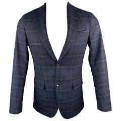 OSCAR JACOBSON Size 36 Navy Plaid Wool Notch Lapel Sport Coat