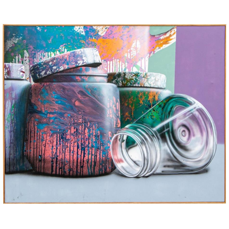 """Oscar Lakeman Signed 1985 Acrylic on Canvas, """"Containers #73"""""""