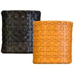 Oscar Maschera Woven Leather Wastebasket