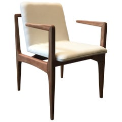 """Oscar"" Minimalist Chair with Arms in Solid Jequitibá Wood and Handwoven"
