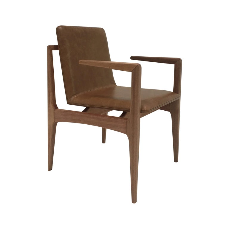 """Oscar"" Minimalist Chair with Arms in Solid Jequitibá Wood and Natural Leather For Sale"