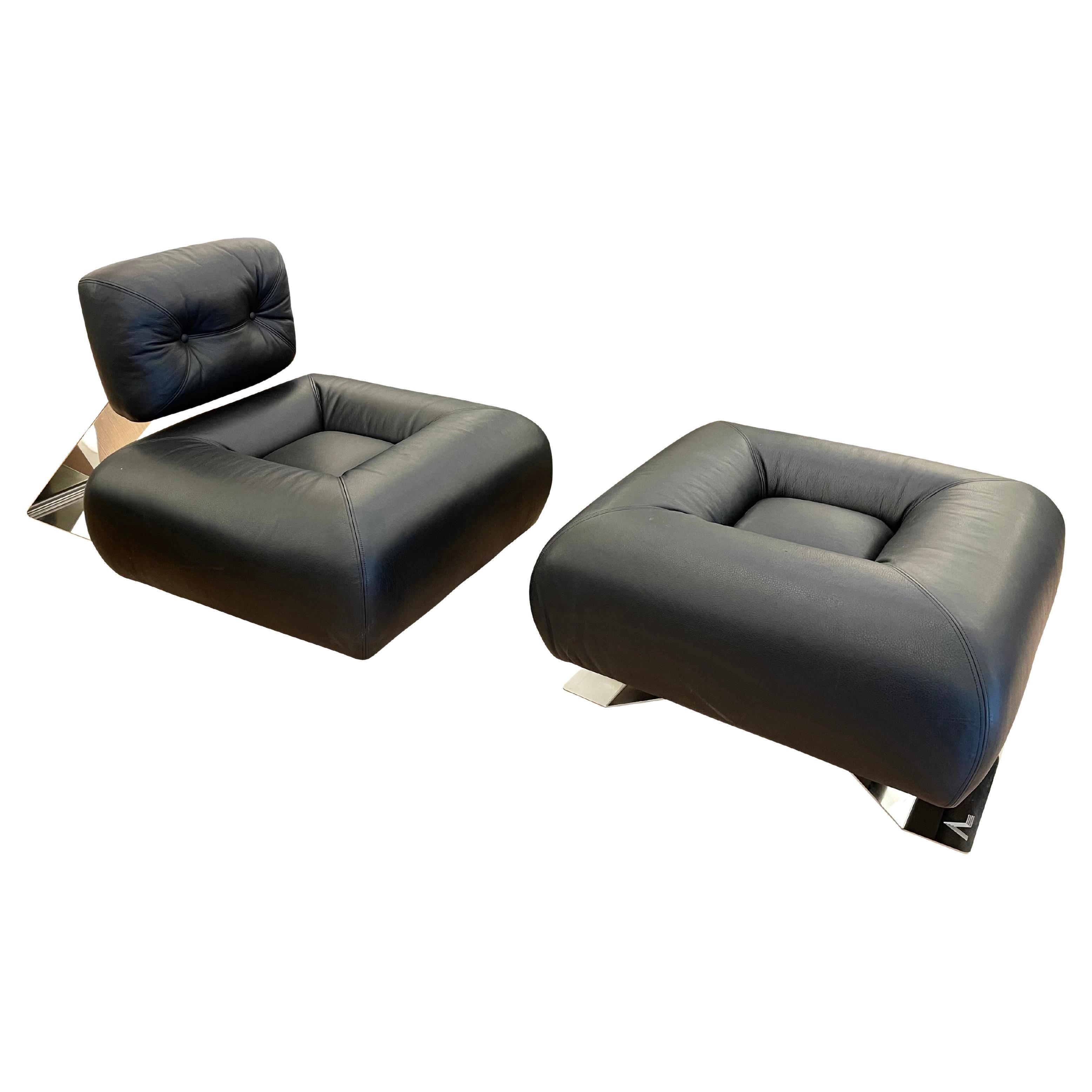 "Oscar Niemeyer ""Aran"" Lounge Chair with Ottoman, 1975"