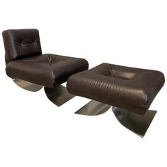 "Oscar Niemeyer Armchair and Ottoman Model ""Alta"", circa 1975 Leather Brown"