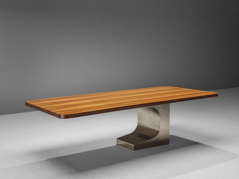 Late 20th Century Oscar Niemeyer Table in Walnut For Sale