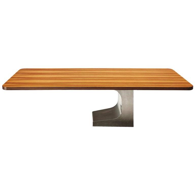 Oscar Niemeyer Table in Walnut For Sale