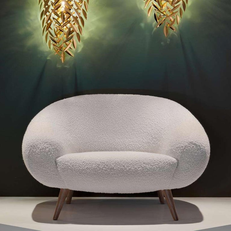 Mid-Century Modern Oscar Niemeyer Inspired Bouclé Fabric 2-Seat Sofa For Sale