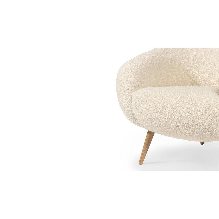 Portuguese Oscar Niemeyer Inspired Bouclé Fabric 2-Seat Sofa For Sale