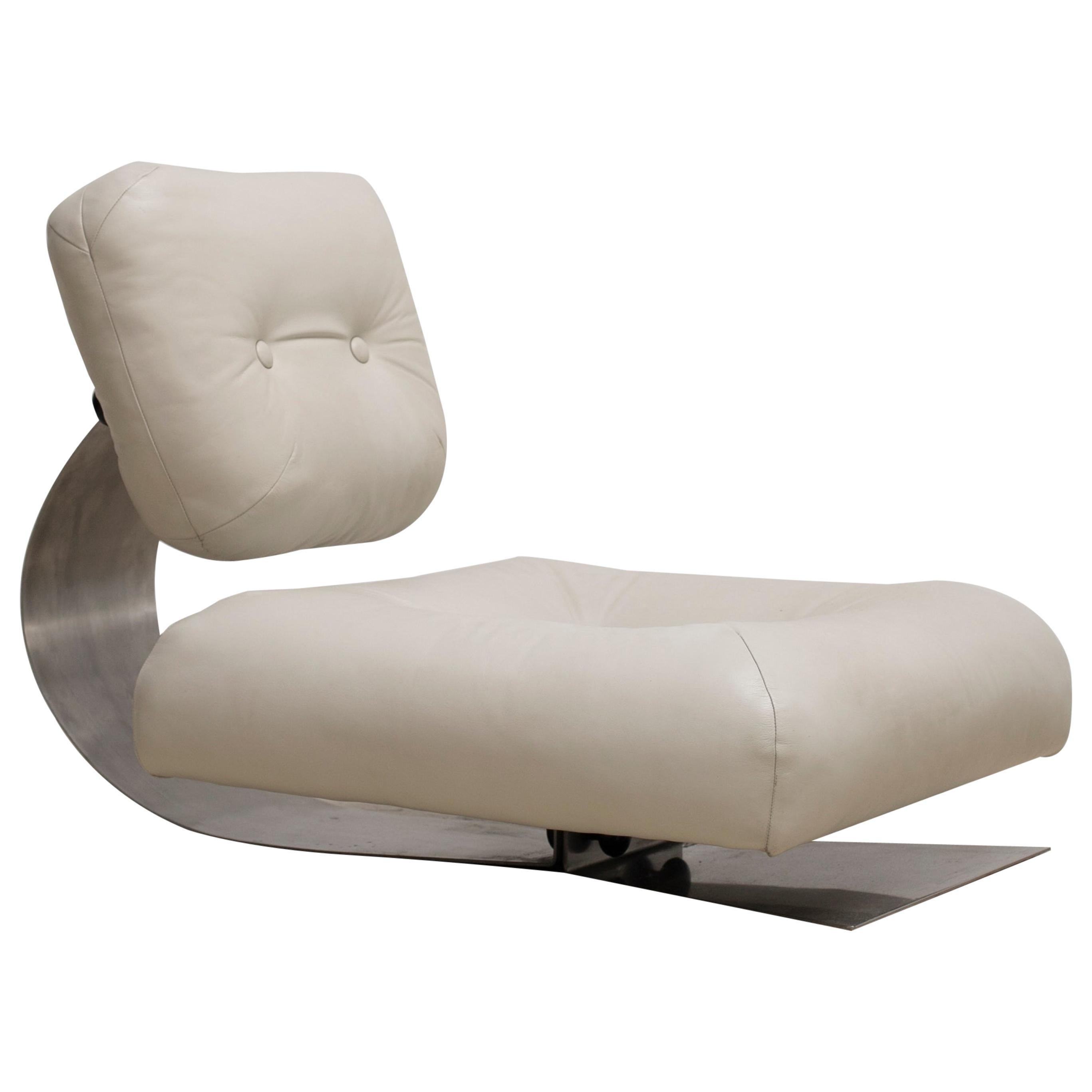 "Oscar Niemeyer White ""Alta"" Lounge Chair"