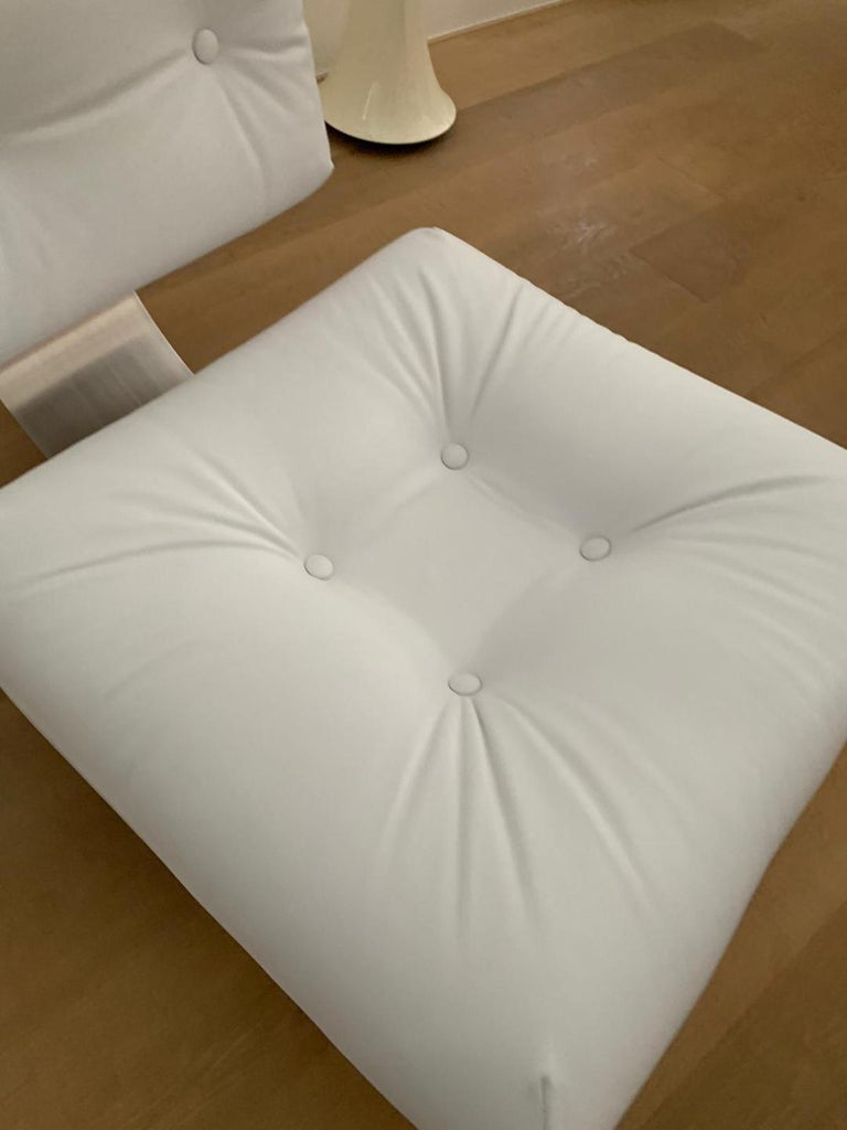 Oscar Niemeyer White Armchair and Ottoman