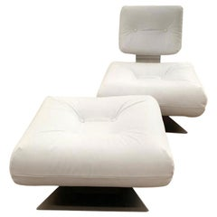 "Oscar Niemeyer White Armchair and Ottoman ""Brazilia ON1"" Model"