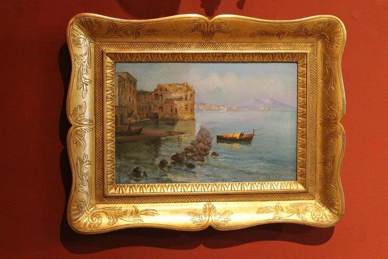Oscar Ricciardi, Italian 19th Century Oil on Canvas Marine Landscape Painting  For Sale 5