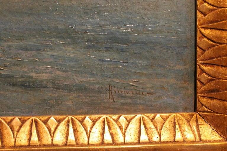 Oscar Ricciardi, Italian 19th Century Oil on Canvas Marine Landscape Painting  For Sale 6
