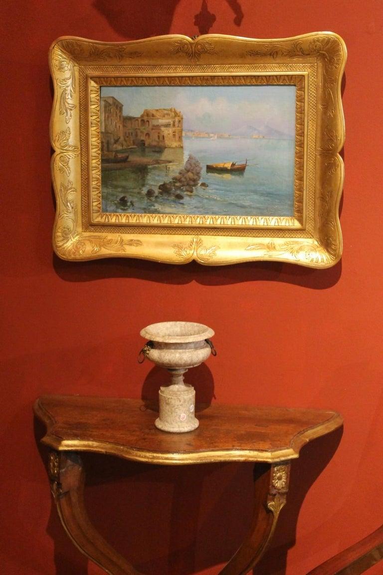 Oscar Ricciardi, Italian 19th Century Oil on Canvas Marine Landscape Painting  For Sale 3