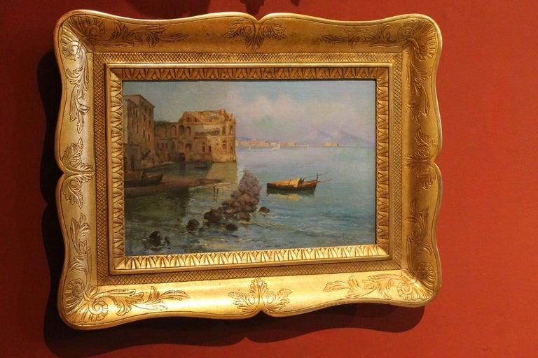 Oscar Ricciardi, Italian 19th Century Oil on Canvas Marine Landscape Painting  For Sale 8
