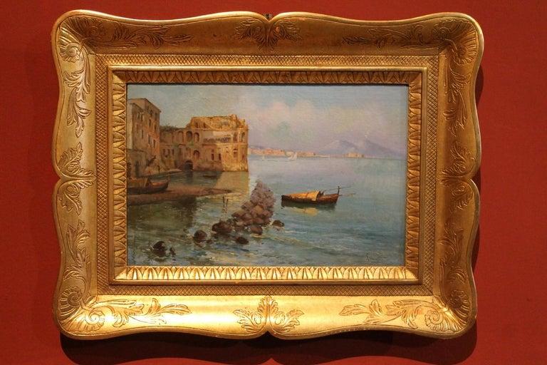Oscar Ricciardi, Italian 19th Century Oil on Canvas Marine Landscape Painting  For Sale 9
