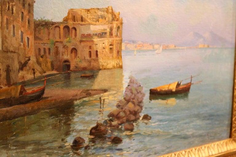 Oscar Ricciardi, Italian 19th Century Oil on Canvas Marine Landscape Painting  For Sale 11