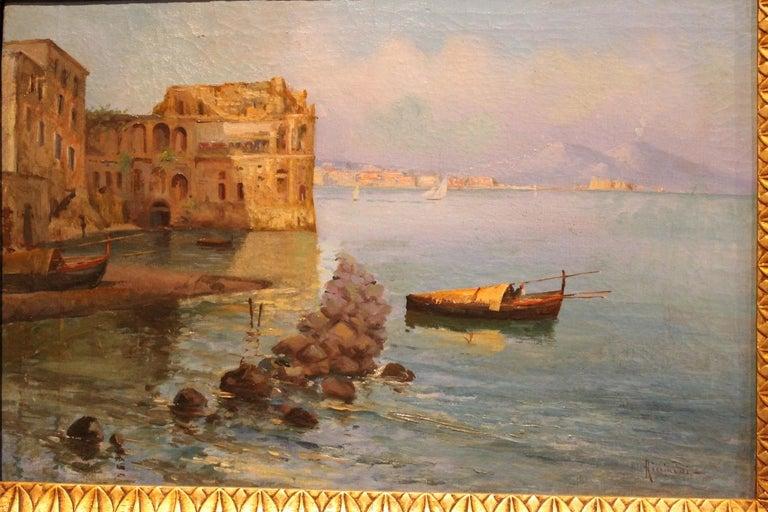 Oscar Ricciardi, Italian 19th Century Oil on Canvas Marine Landscape Painting  For Sale 12