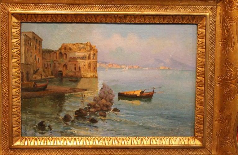 Oscar Ricciardi, Italian 19th Century Oil on Canvas Marine Landscape Painting  For Sale 13